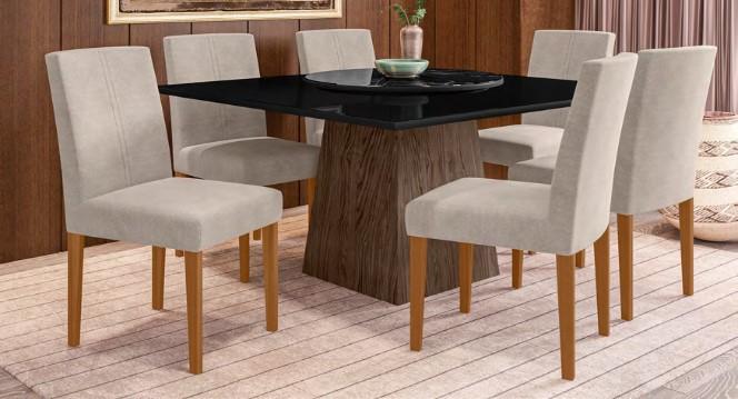 Conjunto Jasmin + cadeira Heloise 6 lugares com tampo giratório - New Ceval