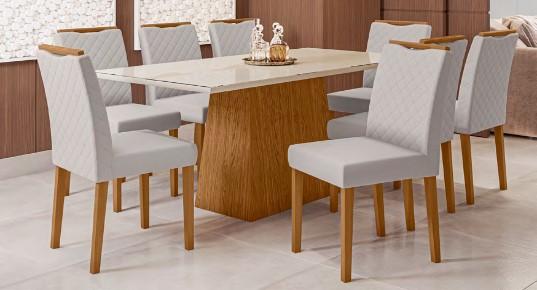 Conjunto Jasmin + cadeira Munique 8 lugares com tampo chanfrado - New Ceval