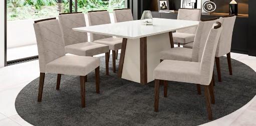Conjunto Júlia + cadeira Caroline 8 lugares com tampo chanfrado - New Ceval