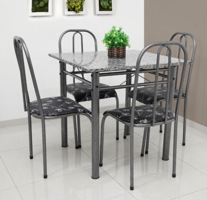 Conjunto Madri granito cinza quadrado c/4 cadeiras - Quality