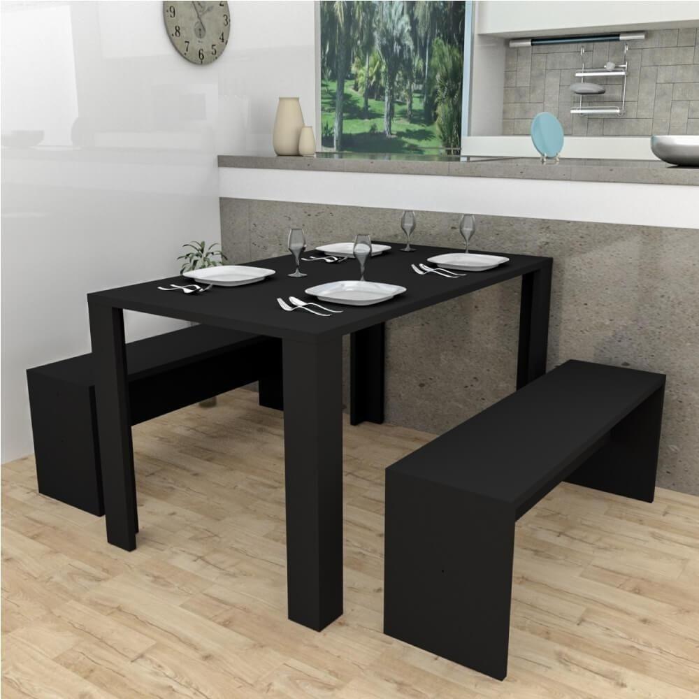 Conjunto mesa de jantar c/2 bancos Liv Preto - Appunto