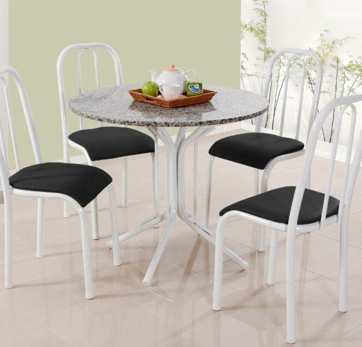 Conjunto Mônaco granito cinza redondo c/ 4 cadeiras - Quality