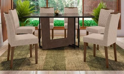 Conjunto Munique + cadeira Munique 6 lugares - New Ceval