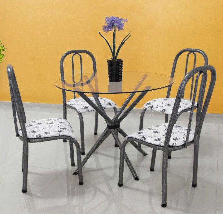 Conjunto Munique tampo de vidro redondo c/4 cadeiras - Quality