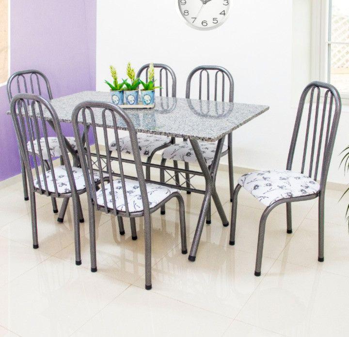 Conjunto Roma granito cinza 1,50 x 0,80 c/6 cadeiras - Quality