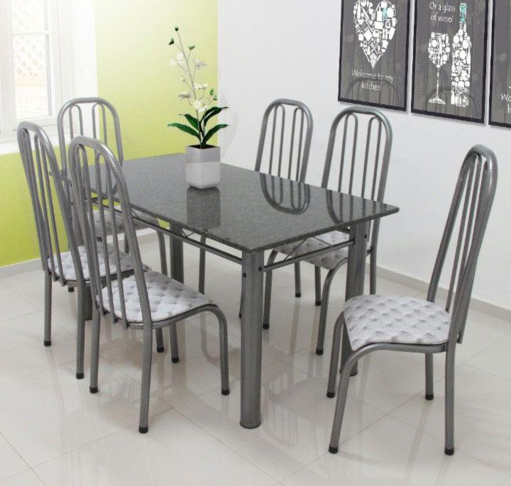 Conjunto Turim granito verde 1,50 x 0,80 c/6 cadeiras - Quality