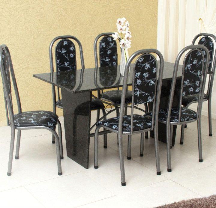 Conjunto Veneza granito verde 1,50 x 0,80 c/6 cadeiras - Quality