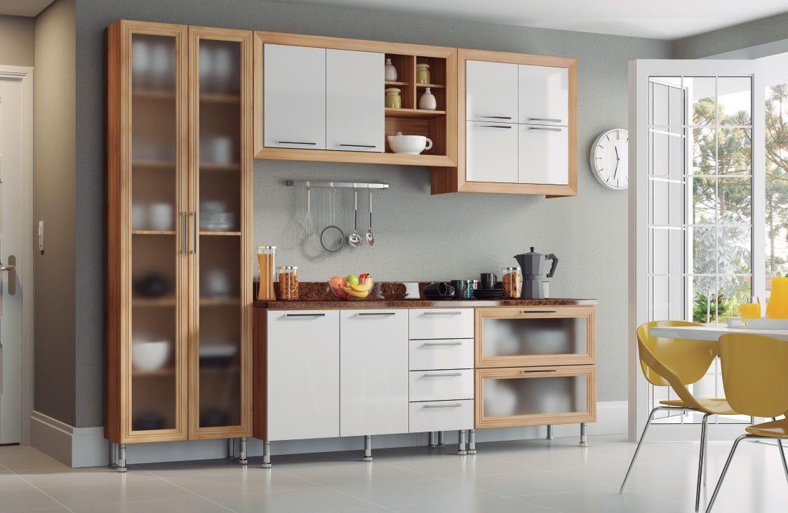Cozinha Aspen 10 carvalho/branco com tampo granito imperial - Ditália