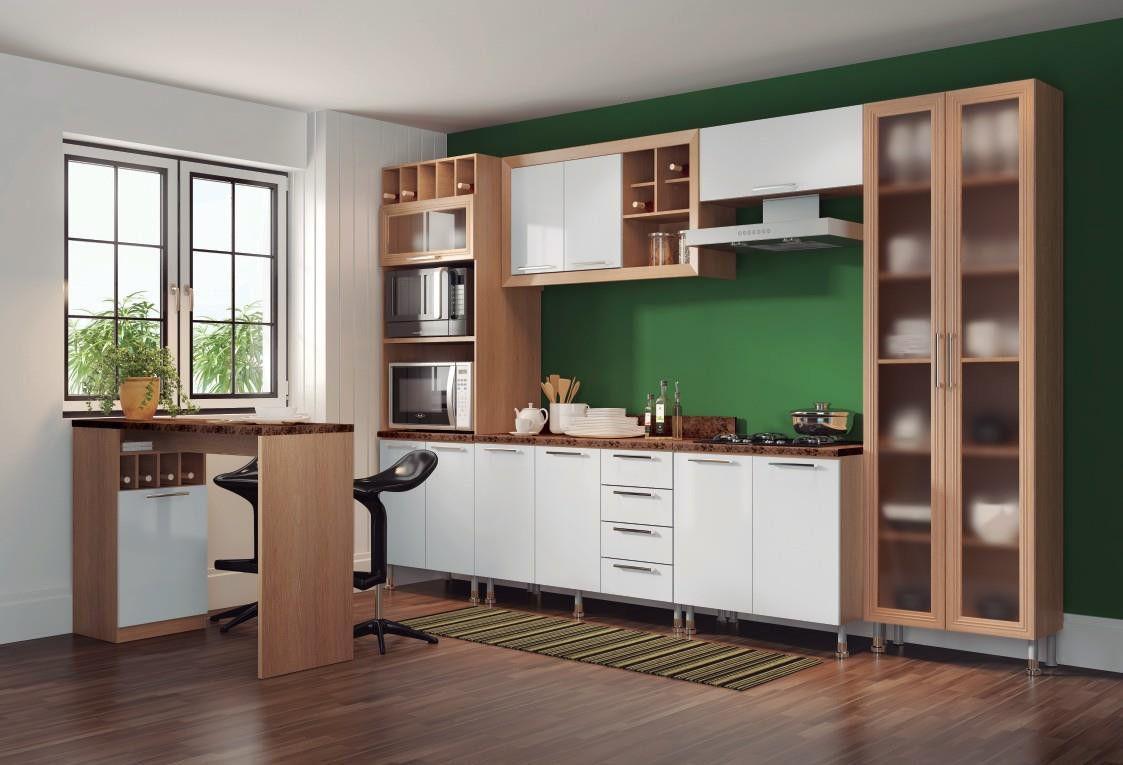 Cozinha Aspen 31 carvalho/branco com tampo granito imperial - Ditália
