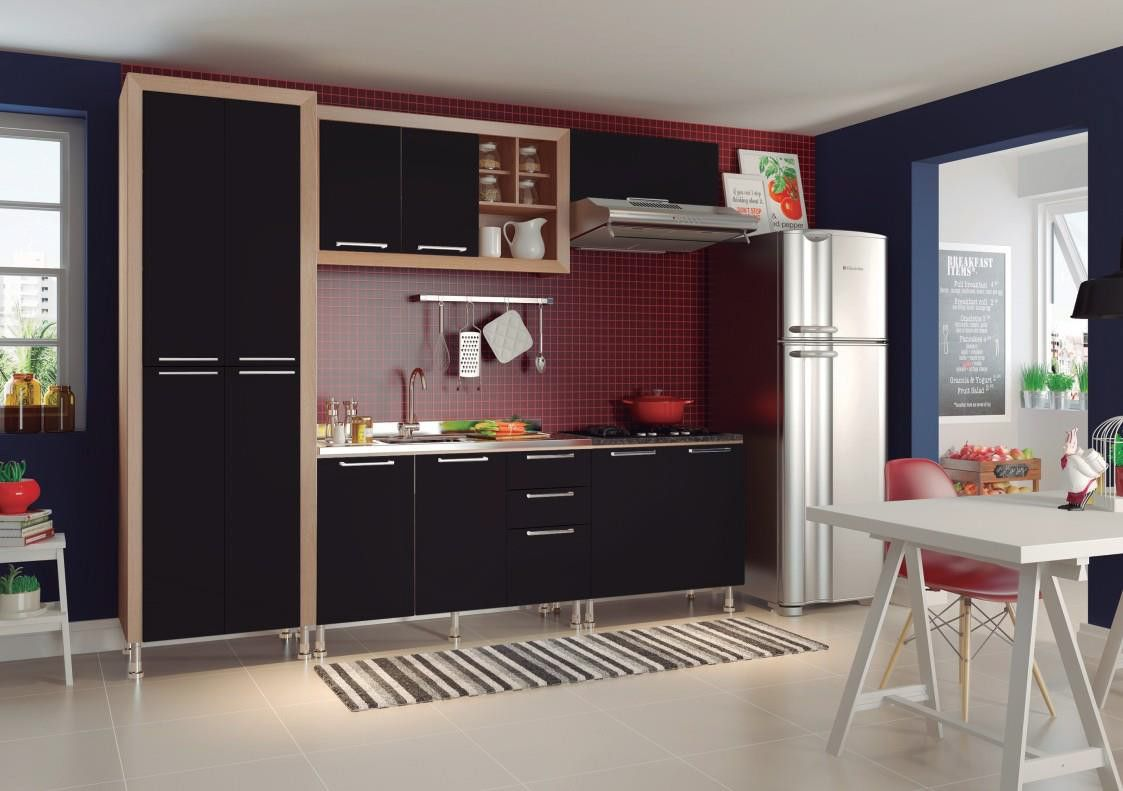 Cozinha Aspen 45 carvalho/preto com tampo granito preto - Ditália