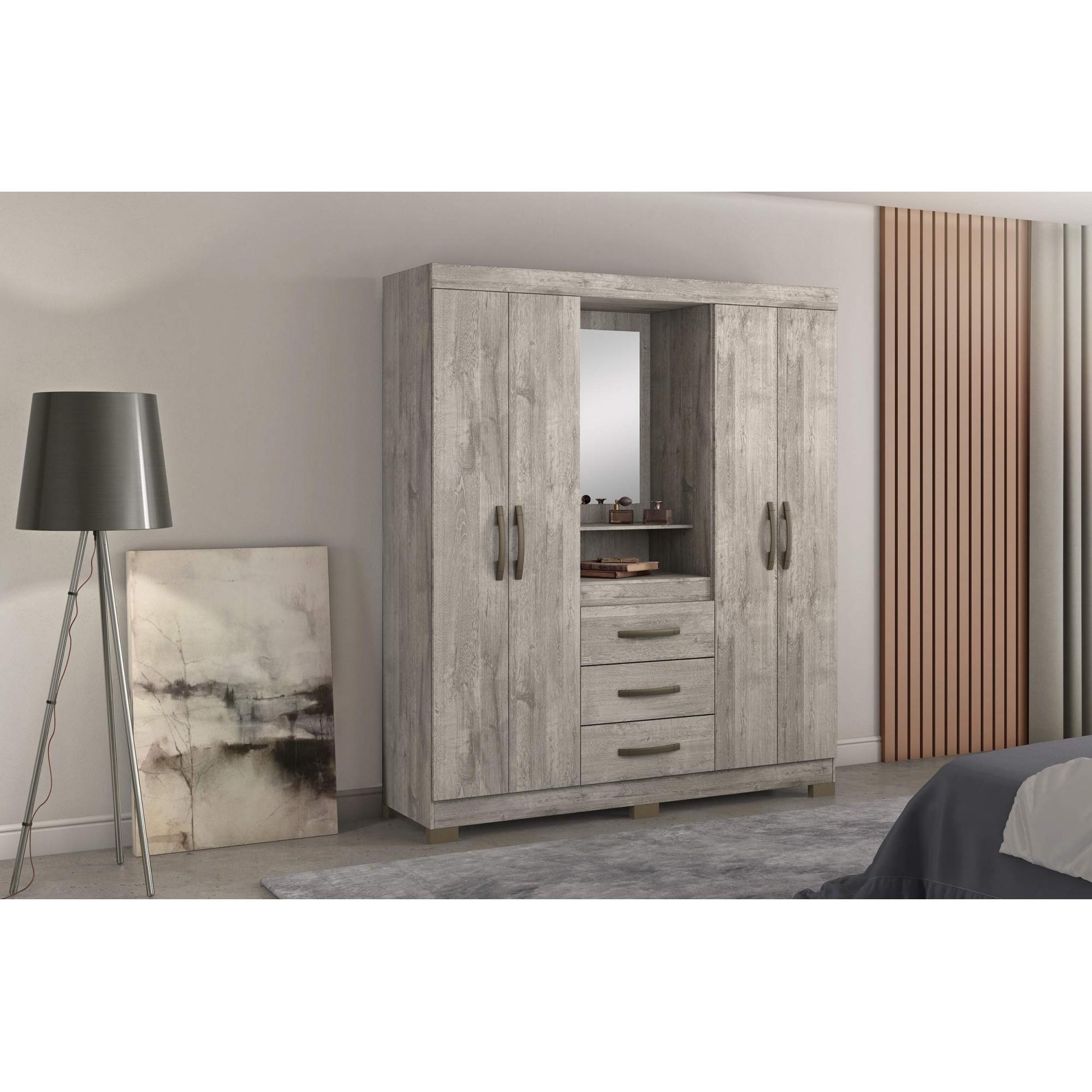 Guarda-Roupa NT 5015 4 portas 3 gavetas c/ espelho - Notável Móveis