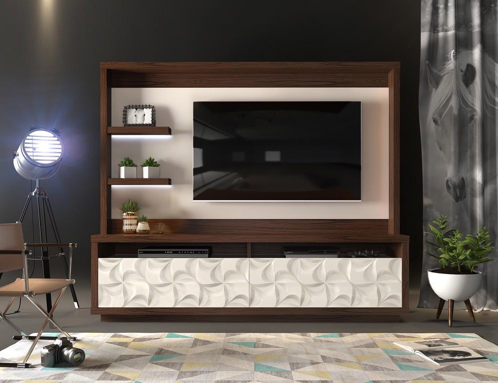 Home Theater Cavalli 2 gavetas c/ led acabamento 3D arraia- DJ Móveis