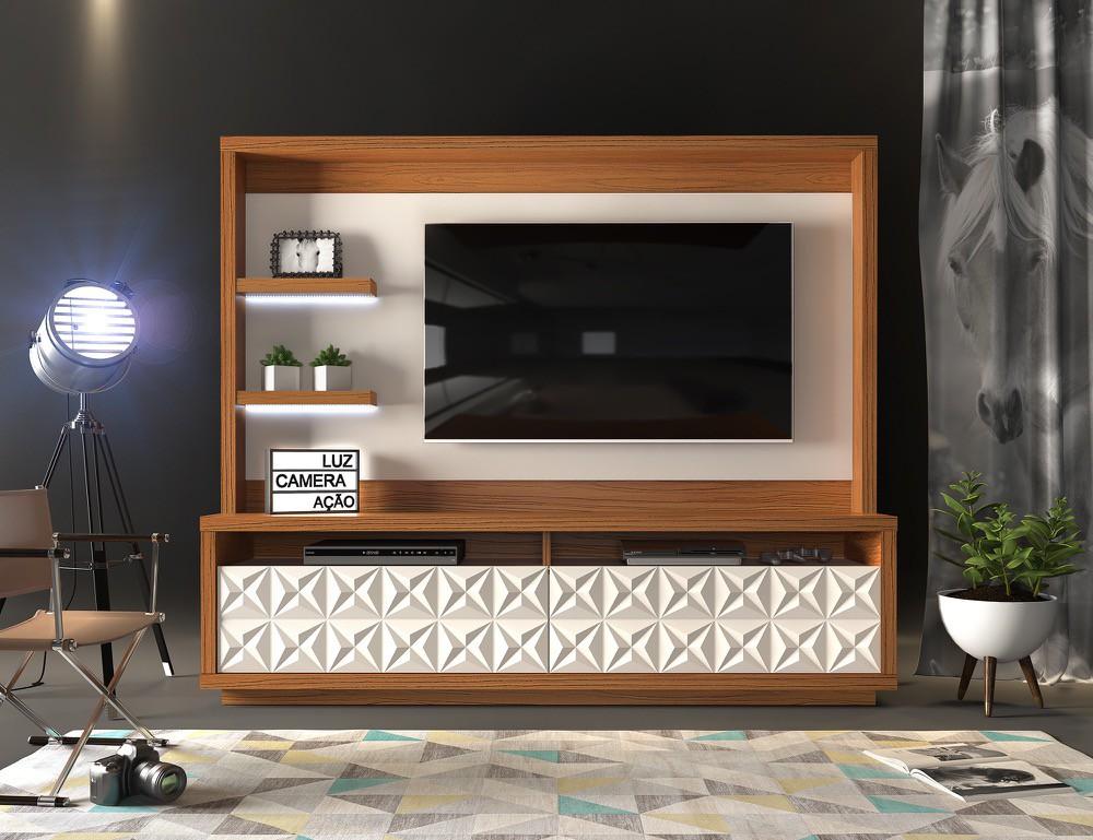 Home Theater Cavalli 2 gavetas c/ led acabamento 3D estrela- DJ Móveis