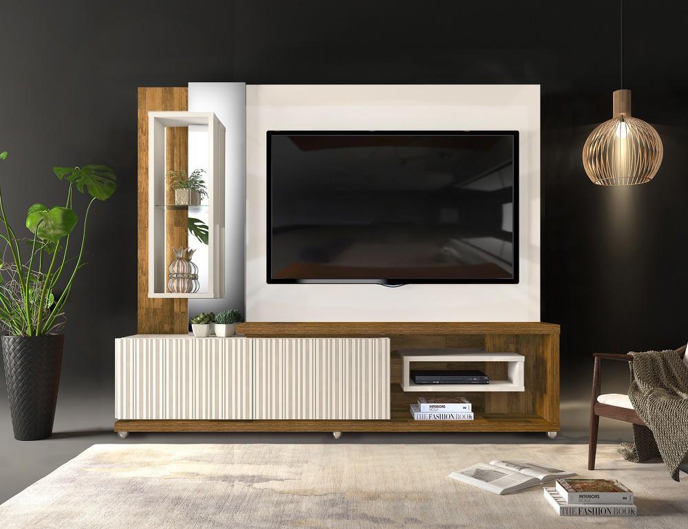 Home Theater Dalle 2 gavetas c/ led acabamento 3D frisos - DJ Móveis