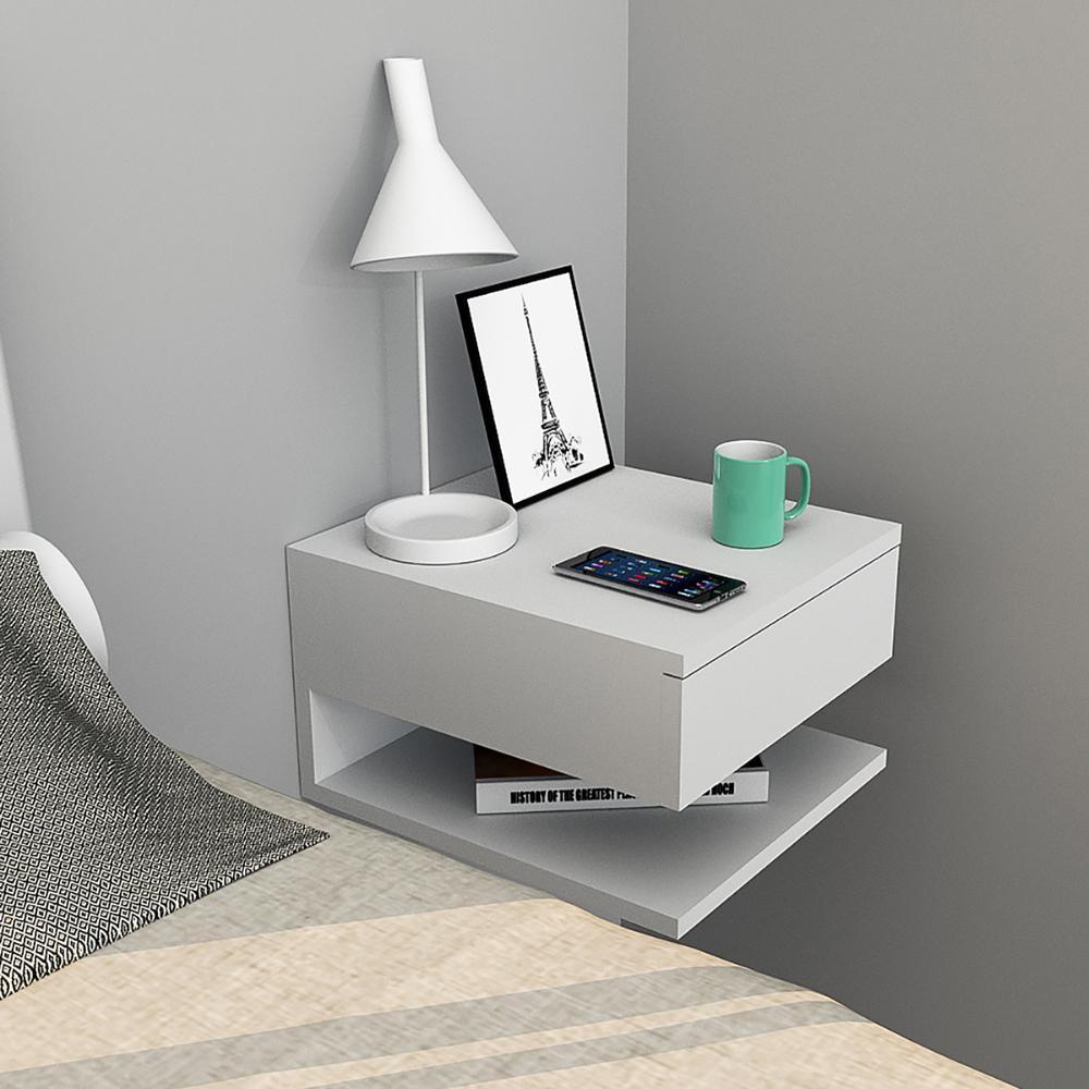 Mesa de cabeceira suspensa com gaveta e prateleira - Appunto