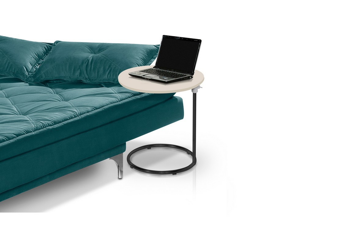 Mesa de canto Paty black/off white com regulagem de altura - Pelaio