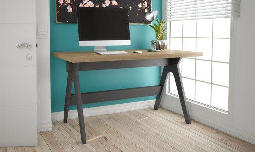 Mesa escritório tamburato c/ tampo de vidro pintado - Dalla Costa