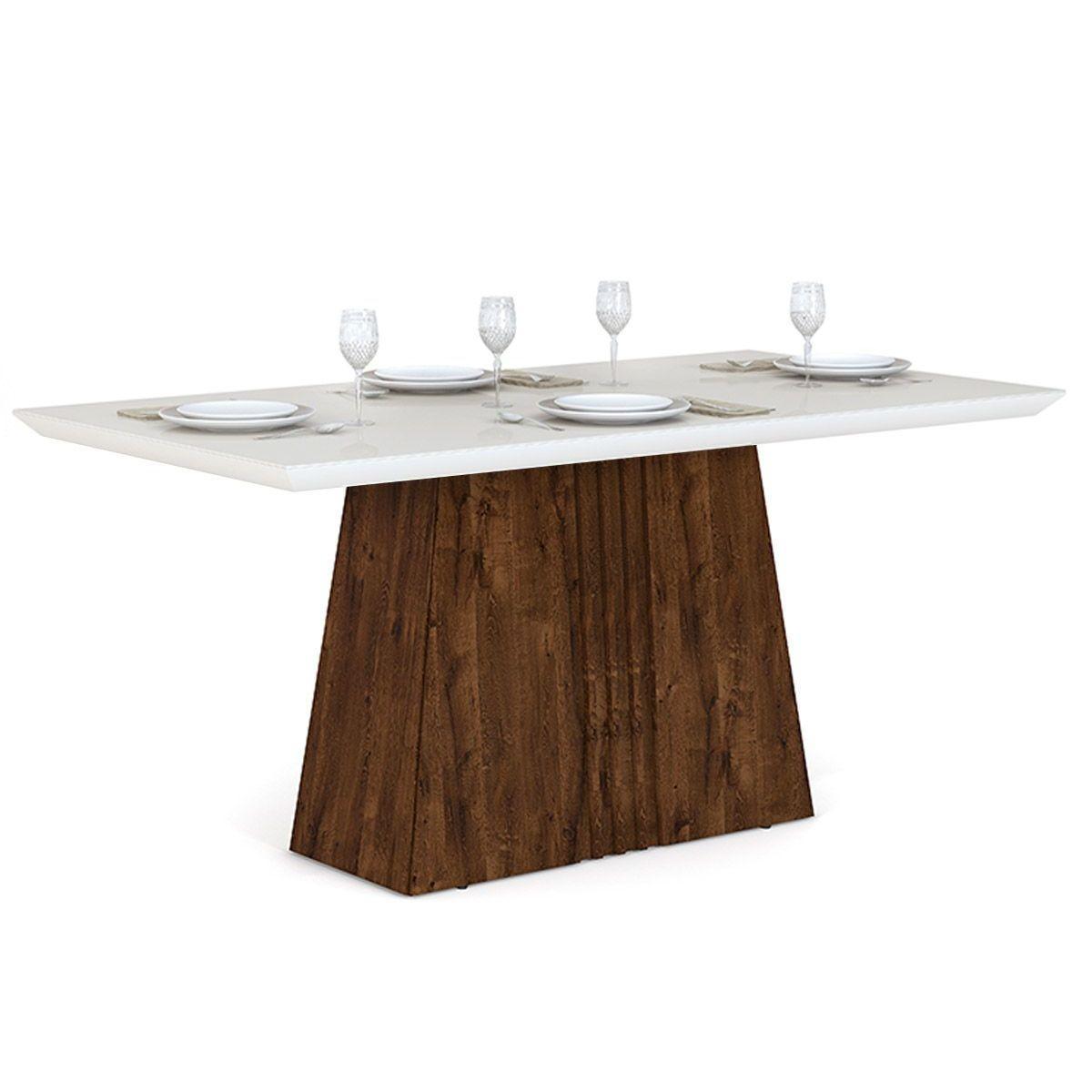 Mesa Itália 1700mm tampo de madeira chanfrado com vidro - DJ Móveis