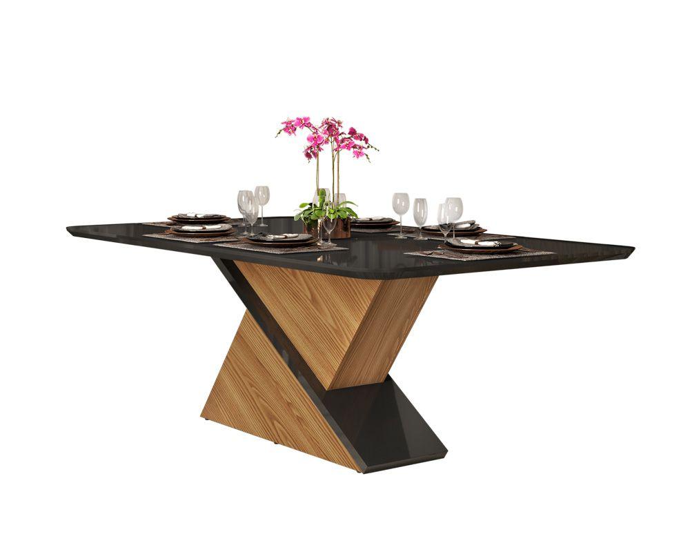 Mesa Zafira tampo chanfrado curvo de madeira e vidro - DJ Móveis