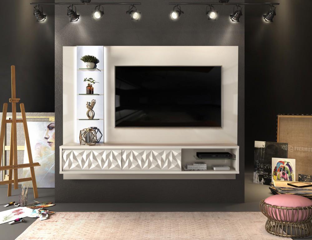 Painel suspenso Lippi 2 gavetas com acabamento 3D diamante - DJ Móveis
