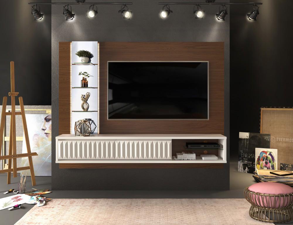 Painel suspenso Lippi 2 gavetas com acabamento 3D frisos - DJ Móveis