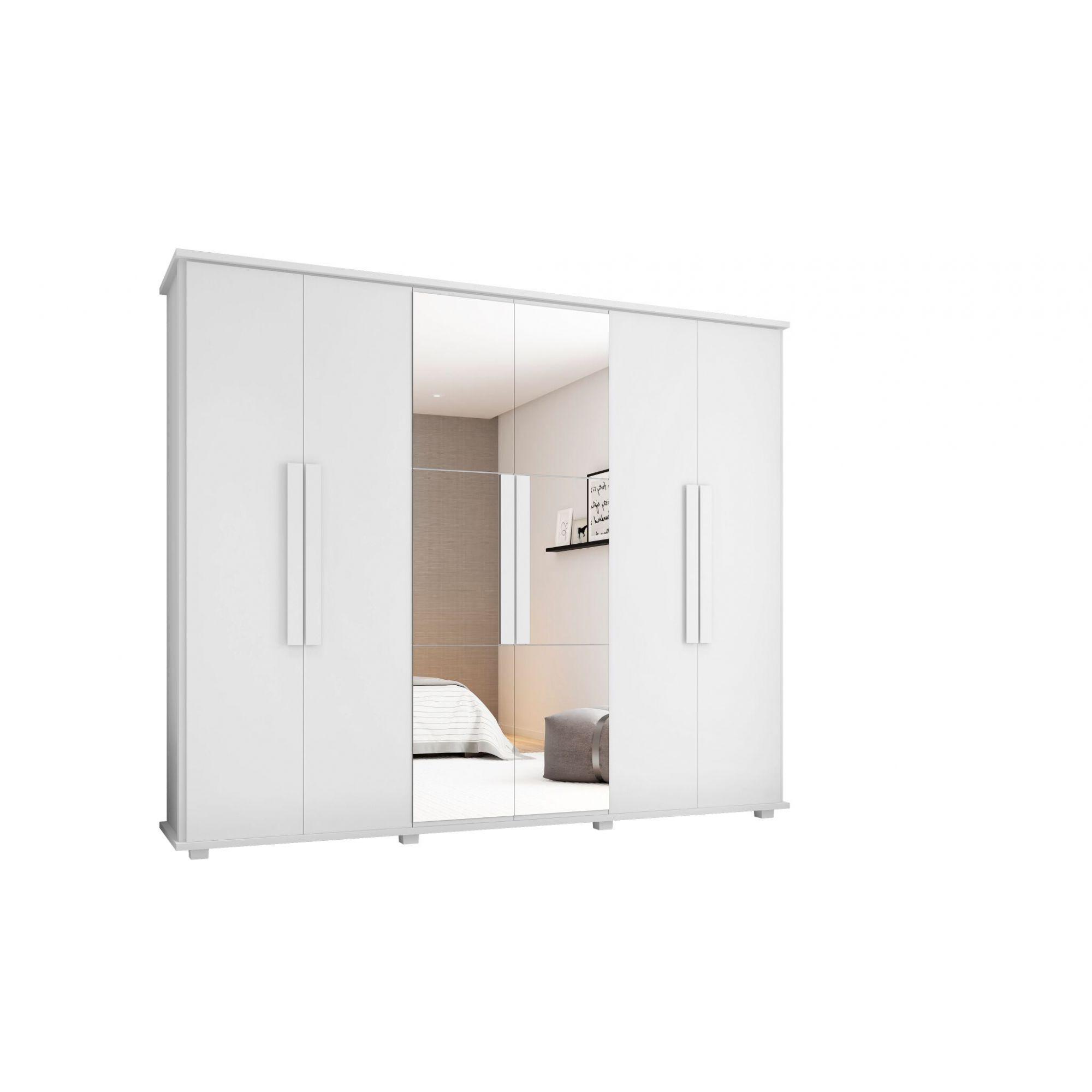 Roupeiro Canadá 6 portas 4 gavetas c/ espelho - RV Móveis