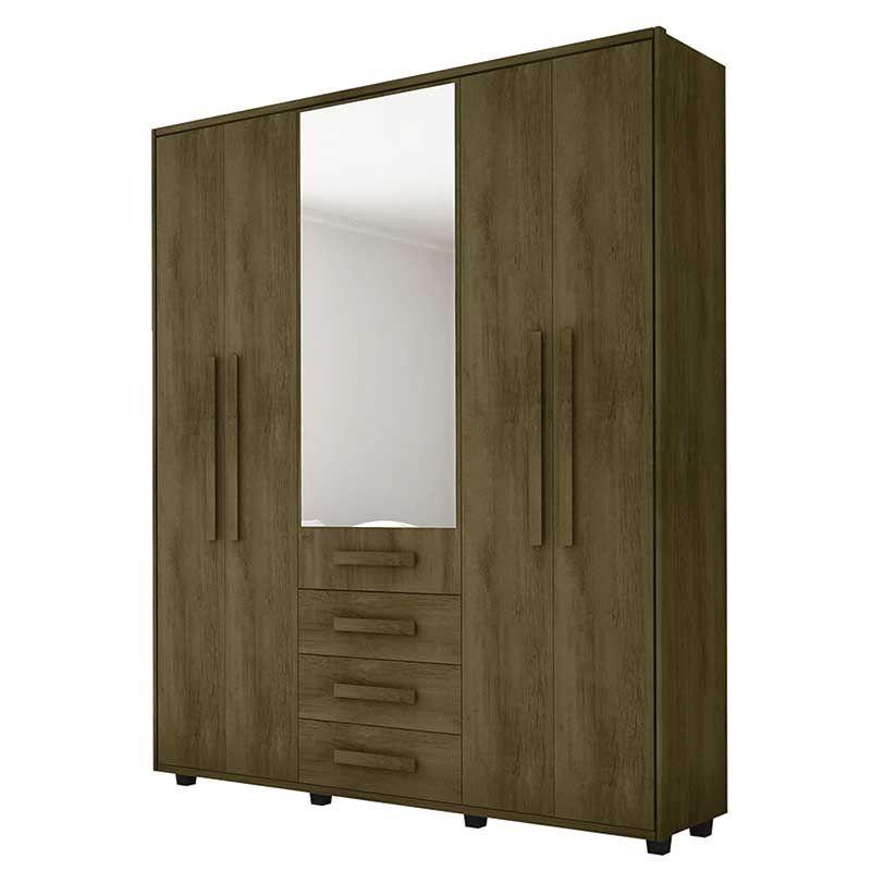 Roupeiro Las Vegas III 5 portas 3 gavetas c/ espelho - RV Móveis