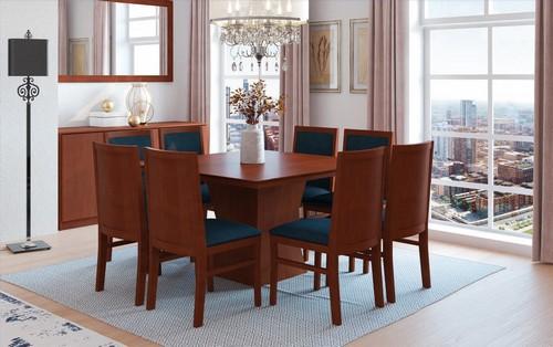 Sala de Jantar Klassic + 8 cadeiras c/ tampo de madeira 1,50x1,50 - Mesasul