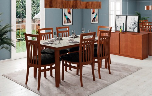 Sala de Jantar Larissa + 6 cadeiras 1,60x0,78x0,90 - Mesasul