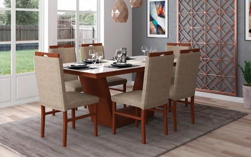 Sala de Jantar Veneza + 6 cadeiras Stefany 1,60x0,78x0,90 - Mesasul