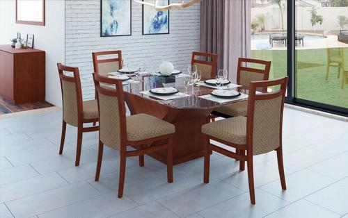 Sala de Jantar Vitória + 6 cadeiras 1,80x1,00x0,78 - Mesasul