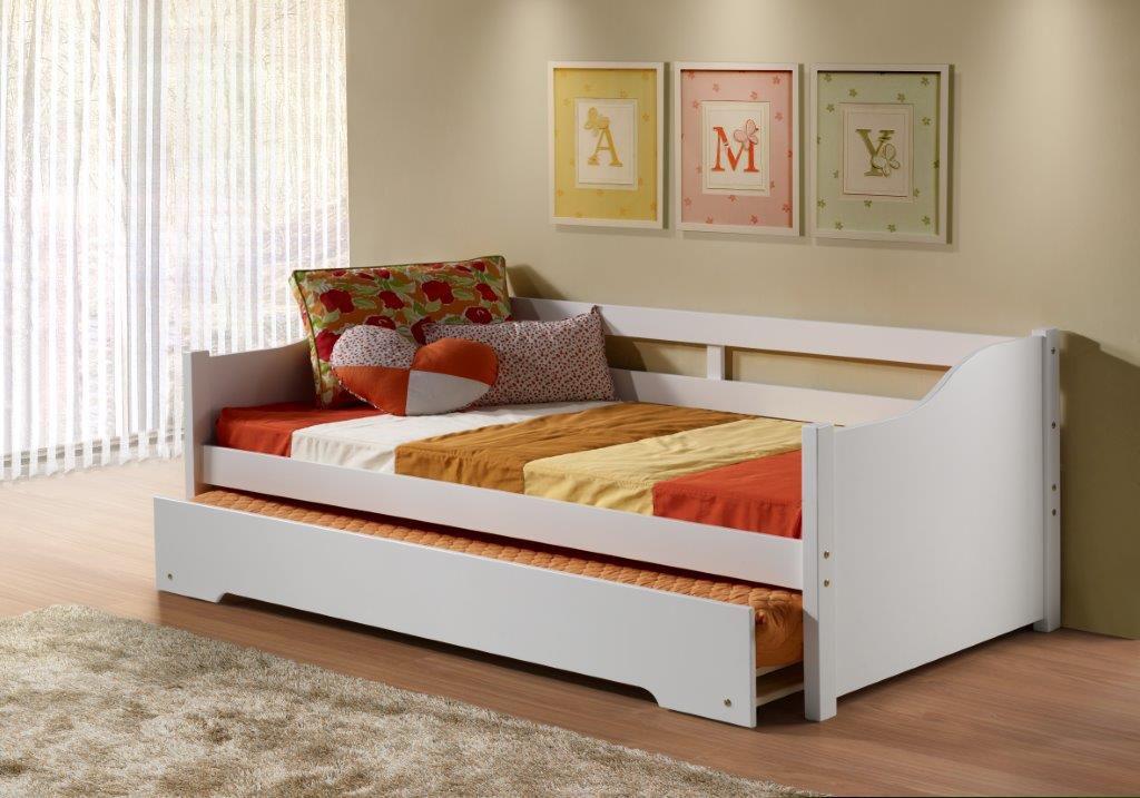 Sofá-cama com cama auxiliar Nacy branco - Weihermann