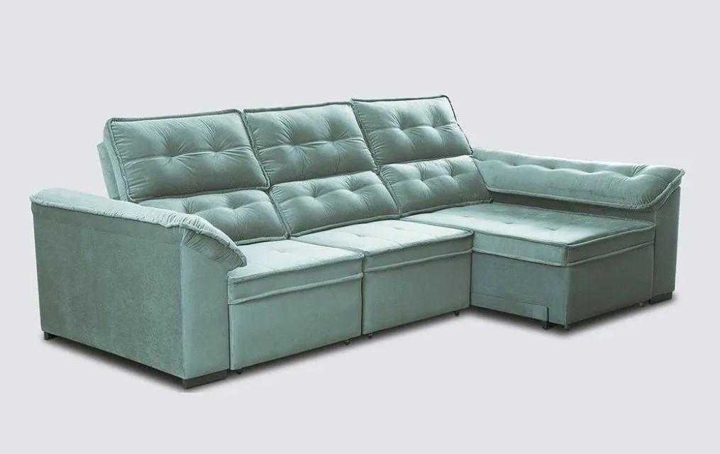 Sofá retrátil e reclinável 5 lugares - Veludo - Grandelly