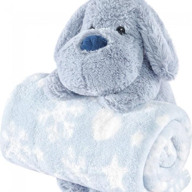 Manta Bebê Anti Alérgico Com Bichinho De Pelúcia Cachorro