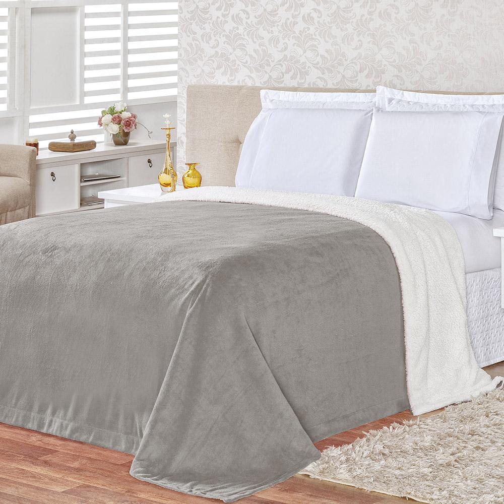 Cobertor Alaska King 1 Peça - Toque Lã de Carneiro + Manta Flannel