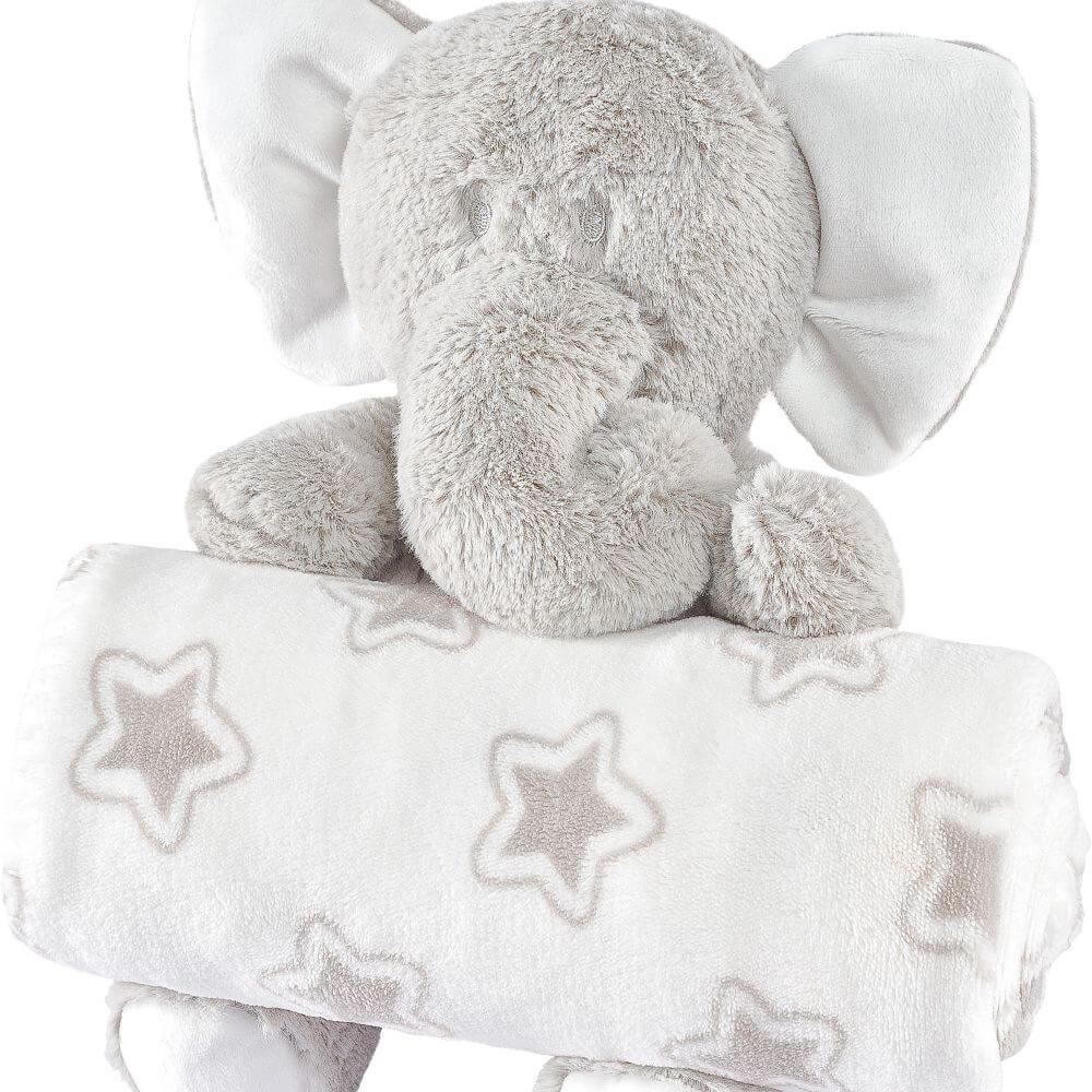 Manta Bebê Anti Alérgico Com Bichinho De Pelúcia Elefante