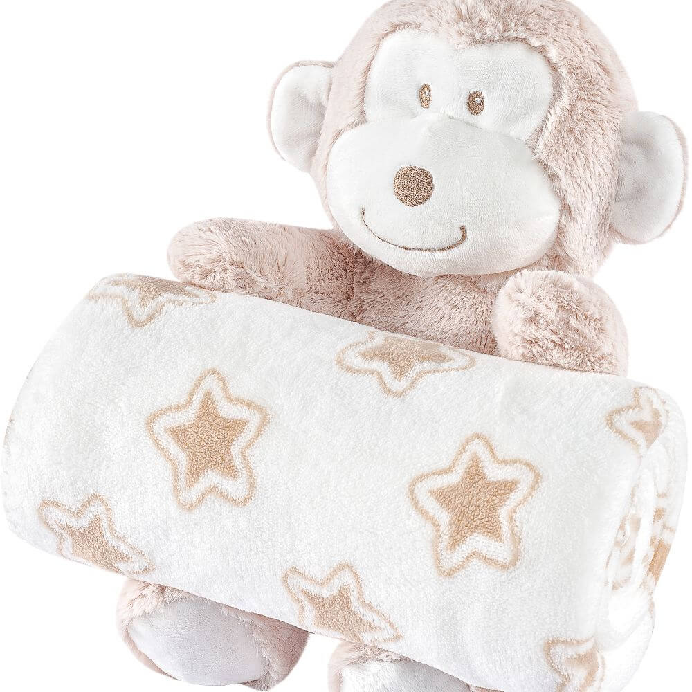 Manta Bebê Anti Alérgico Com Bichinho De Pelúcia Macaco