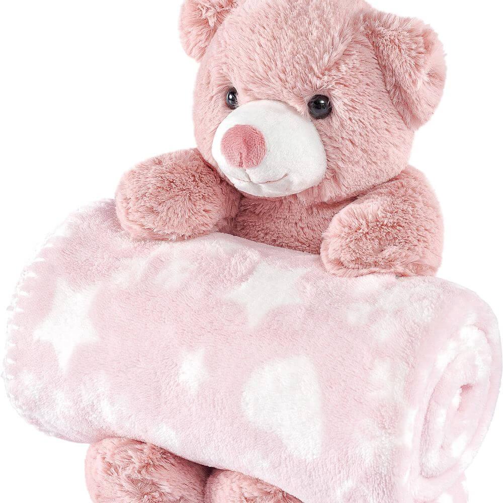 Manta Bebê Anti Alérgico Com Bichinho De Pelúcia Ursinho