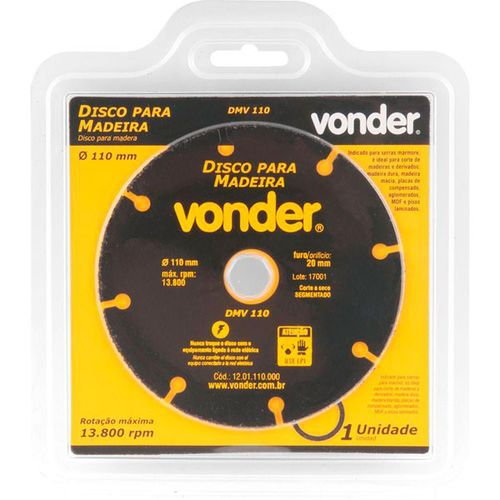 12532 - DISCO P MADEIRA 110MM  DMV110 VONDER