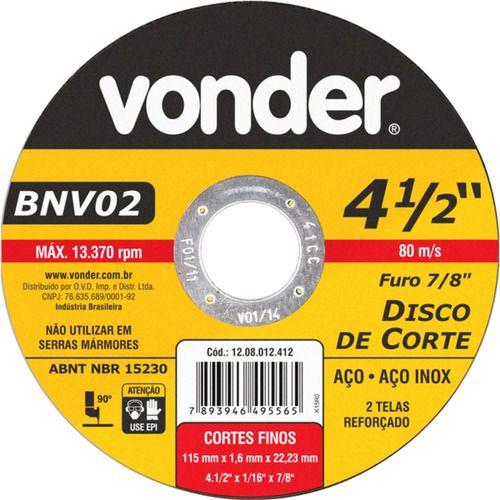 12558 - DISCO CORTE 115X1.6X22,23MM BNV02 VONDER