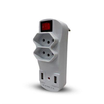 14475 - FILTRO DE LINHA BIVOLT 2 TOMADAS 2 USB