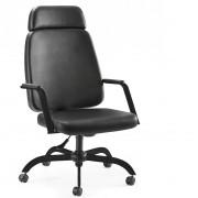 Cadeira Escritório Diretor Reforçada Suporta 150Kg  Preto Encosto de cabeça