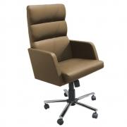 Cadeira Escritório Giratória Presidente Concha Braços Fixos Estofados