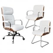 Kit Cadeira Escritório Giratória Presidente Cromada Em Madeira + 2 Cadeiras Escritório Fixas Cromadas em Madeira