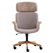 Cadeira Escritório Giratória Presidente Estofado Encosto de Cabeça e Estrutura em Madeira Braços Fixos