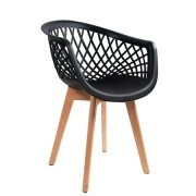 Cadeira Fixa de Escritório Pés Madeira Assento Polipropileno