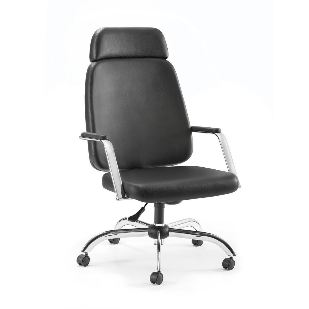 Cadeira Escritório Diretor Reforçada Suporta 150Kg Cromado Encosto de cabeça
