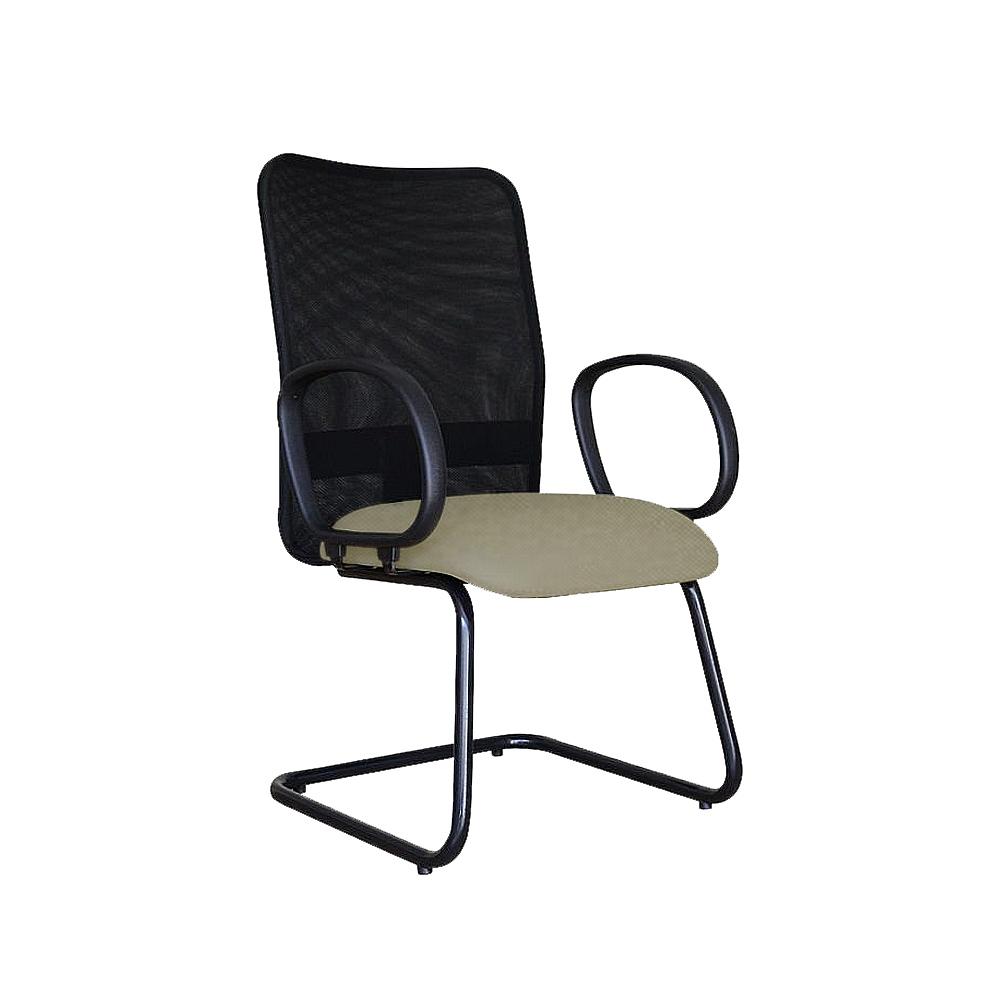 Cadeira Escritório Fixa Diretor Encosto em Tela Preto Braço Fixo