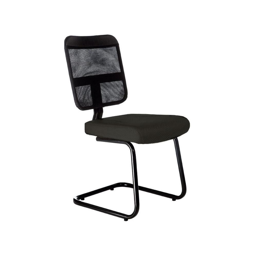 Cadeira Escritório Fixa Diretor Encosto em Tela Preto Sem Braço
