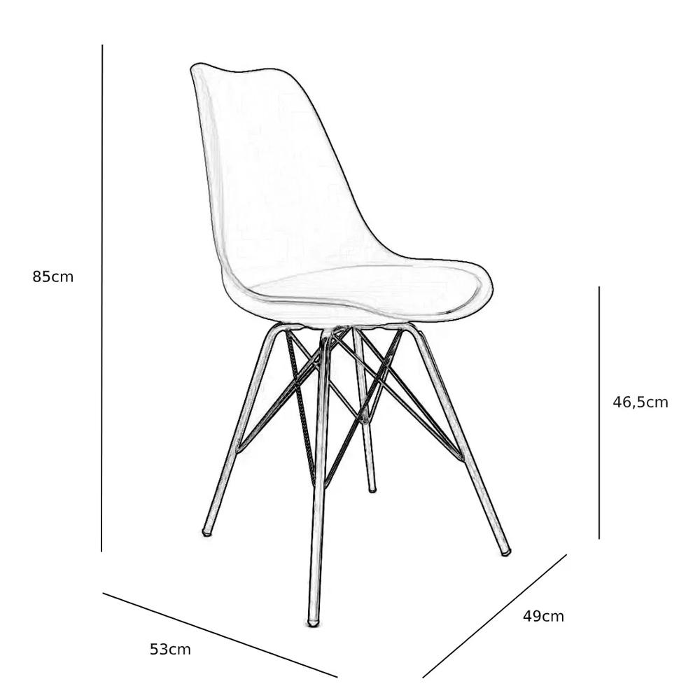 Cadeira Escritório Fixa Saarinen Base em Aço Assento em Corino